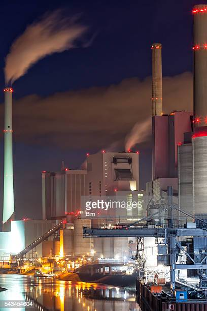 Illuminated Coal-Fired Power Plant at Night, Germany
