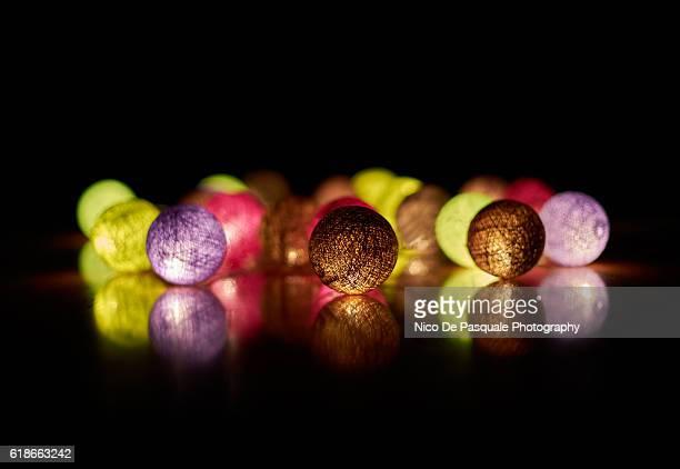 Illuminated colorful spheres