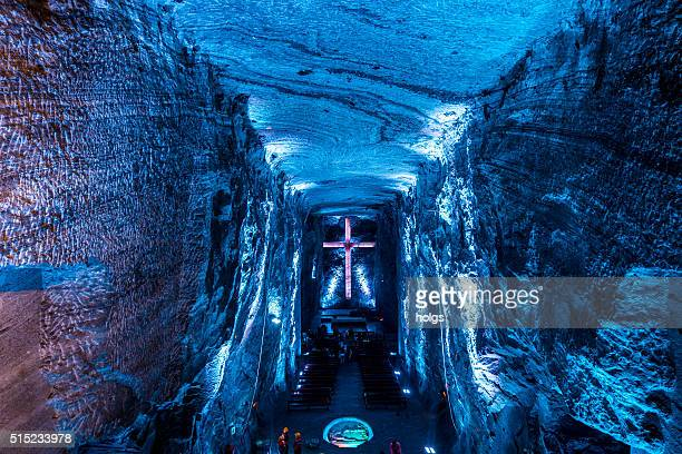 Illuminated Cross inside the Salt Cathedral of Zipaquira