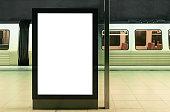illuminated digital billboard in underground train station mockup