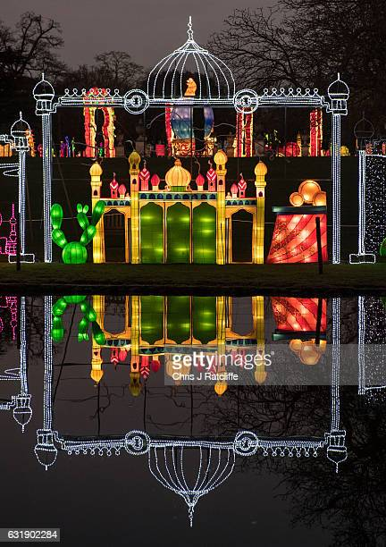 A illuminated display is seen next to a river during the preview of the Magical Lantern Festival at Chiswick House and Gardens on January 17 2017 in...