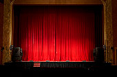 Illuminated empty theatre stage