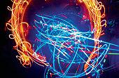 Illuminated fiber optic electric light in a nightclub