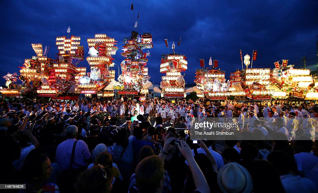 Illuminated floats are arranged at Hita Station as the greeting session of the Hita Gion Festival on July 19, 2012 in Hita, Oita, Japan. The festival will takes place on July 21 and 22.