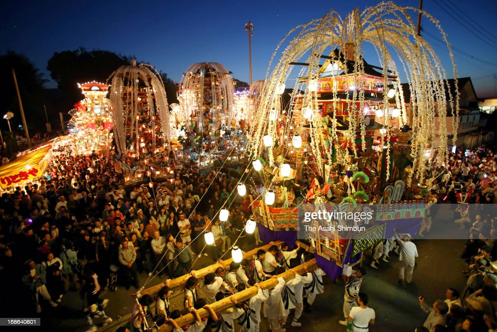 Illuminated floats march on during the Itoda Gion Yamagasa Festival on May 11, 2013 in Itoda, Fukuoka, Japan. The festival, thought to date back in Edo Era, is held May 11 and 12 every year.