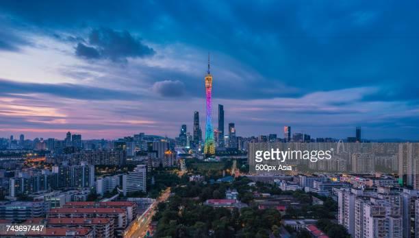 Illuminated Guangzhou cityscape at night, Guangzhou, Guangdong, China