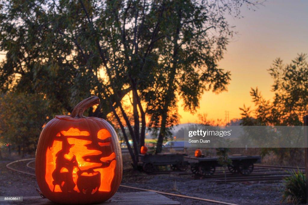 Illuminated Halloween at dusk