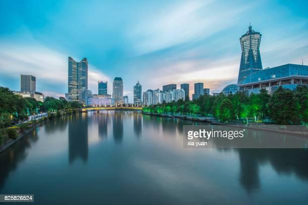 Illuminated Hangzhou Cityscape At Sunset,Zhejiang,China