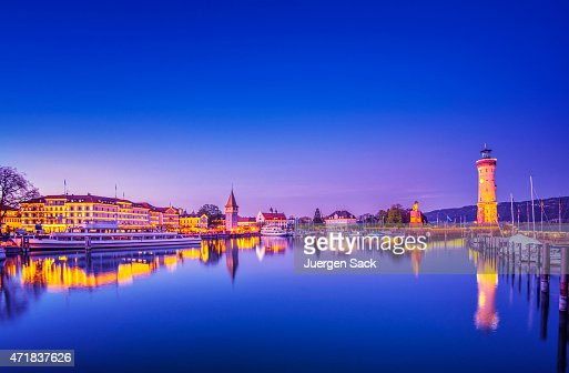Illuminated harbour of Lindau (Bodensee)  at night