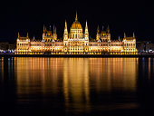 Night view of illuminated historical building of Hungarian Parliament, aka Orszaghaz, with typical symmetrical architecture and central dome on Danube River embankment in Budapest, Hungary, Europe. It