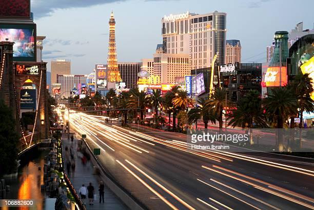 Illuminated Hotels and Traffic on Las Vegas Strip