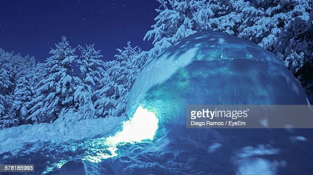 Illuminated Igloo At Night
