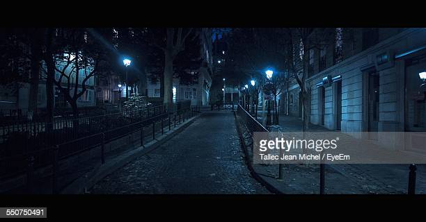Illuminated Lampposts In Street