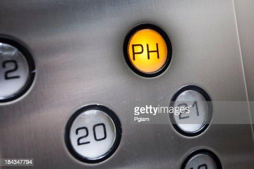 Illuminated lift button close-up