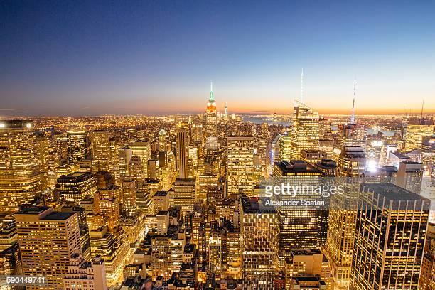 Illuminated Manhattan at night, New York, USA