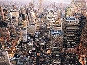 Illuminated Manhattan seen from above after sunset