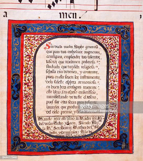 Illuminated manuscript page displaying text surrounded by an ornate border from a Latin manuscript compiled in Spain in the 18th century 2013