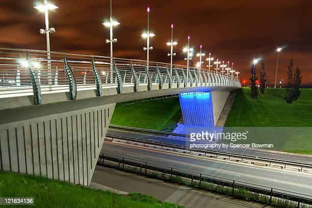 illuminated modern footbridge