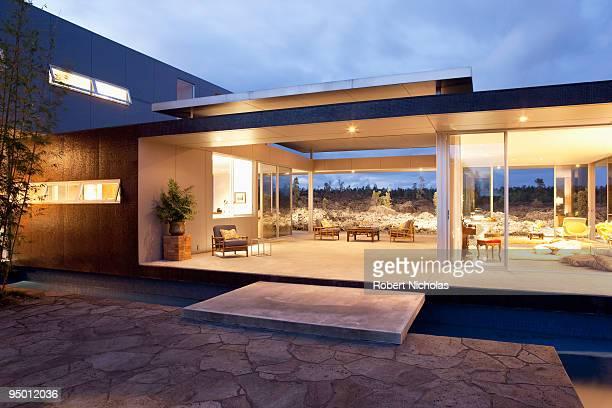 Illuminated modern house