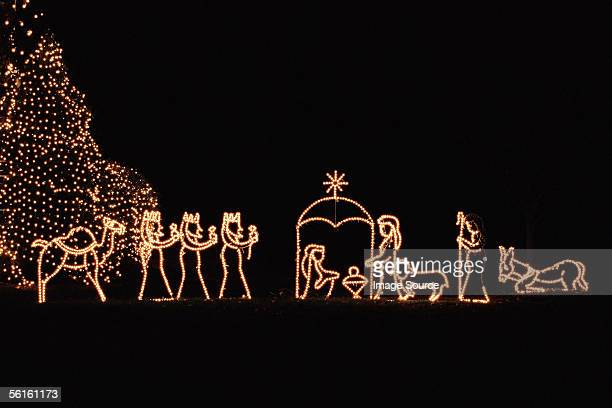 Illuminated nativity scene