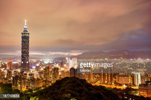 Illuminated night city skyline of Taipei, Taiwan, China