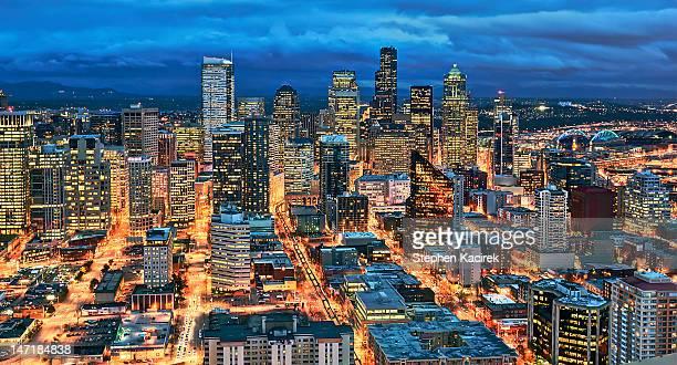 Illuminated of downtown Seattle