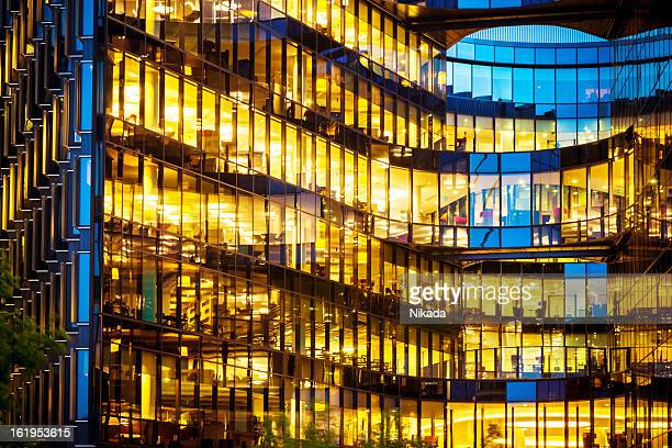 Illuminated office building at night