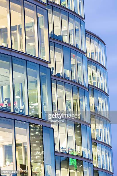 Illuminated office buildings in London