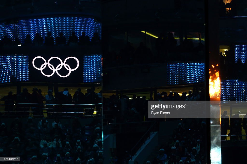 Illuminated Olympic Rings are reflected during a mirrored performance during the 2014 Sochi Winter Olympics Closing Ceremony at Fisht Olympic Stadium on February 23, 2014 in Sochi, Russia.