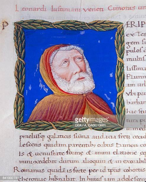 Illuminated page with profile of Cimon Volume I left 1 f 217 r Vitae virorum illustrium by Plutarch manuscript Italy 15th century Detail Cesena...