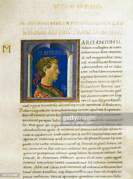 Illuminated page with profile of Mark Antony Volume II left 2 f 51 r Vitae virorum illustrium by Plutarch manuscript Italy 15th century Cesena...
