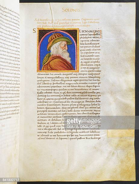 Illuminated page with profile of Solon Volume I left 1 f 66 r Vitae virorum illustrium by Plutarch manuscript Italy 15th century Cesena Biblioteca...