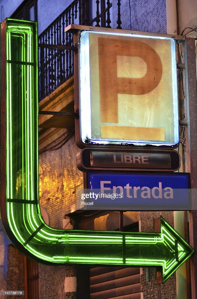 Illuminated parking sign, Spain : Stock Photo