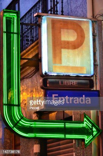 Illuminated parking sign, Spain : Photo