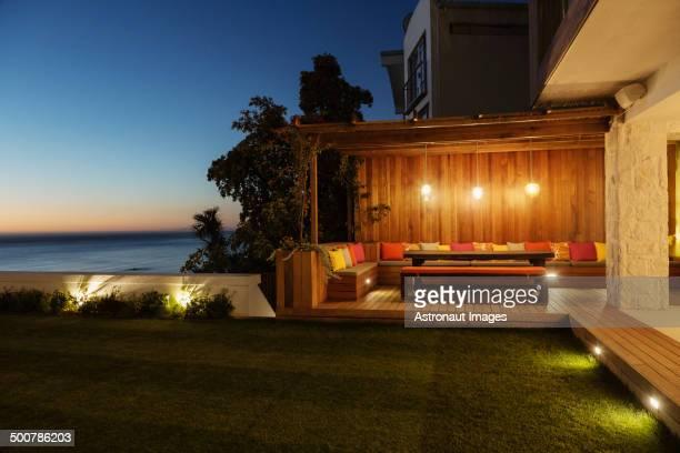 Illuminated patio at night
