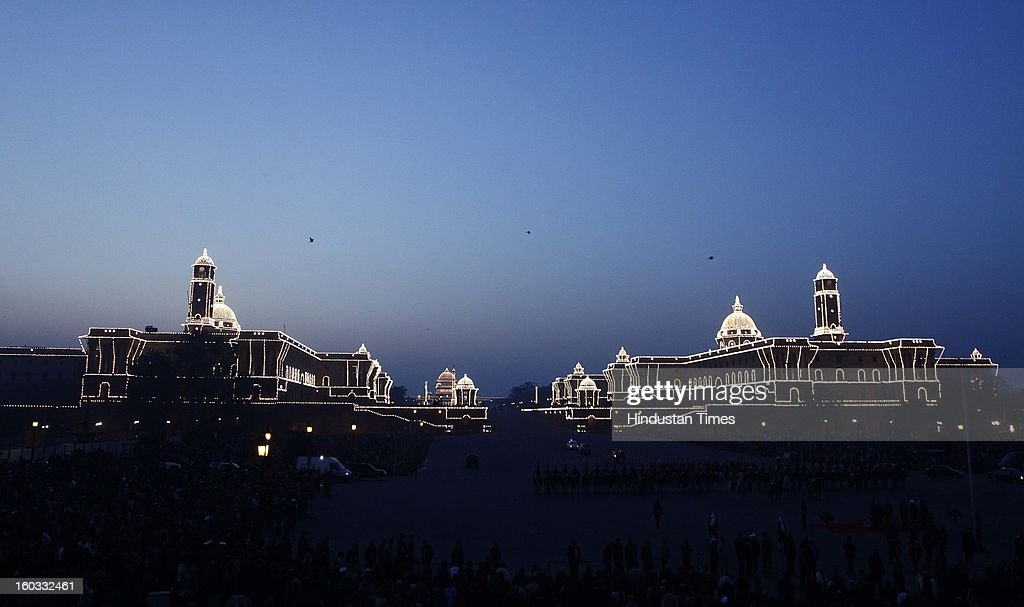 Illuminated Raisina Hills after the Beating Retreat ceremony at Vijay Chowkon January 29, 2013 in New Delhi, India. This ceremony officially marks the end of Republic Day celebrations.