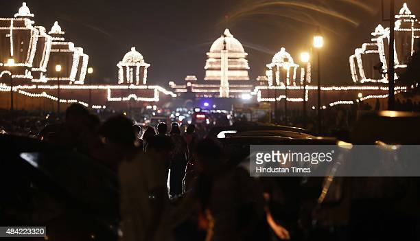Illuminated Rashtrapati Bhavan on the occasion of Independence Day on August 15 2015 in New Delhi India Around 40000 security personnel involved in...