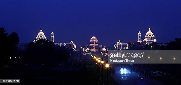 Illuminated Rashtrapati Bhawan South and North Block during the full dress rehearsal of Beating Retreat Ceremony at Vijay Chowk on January 27 2015 in...
