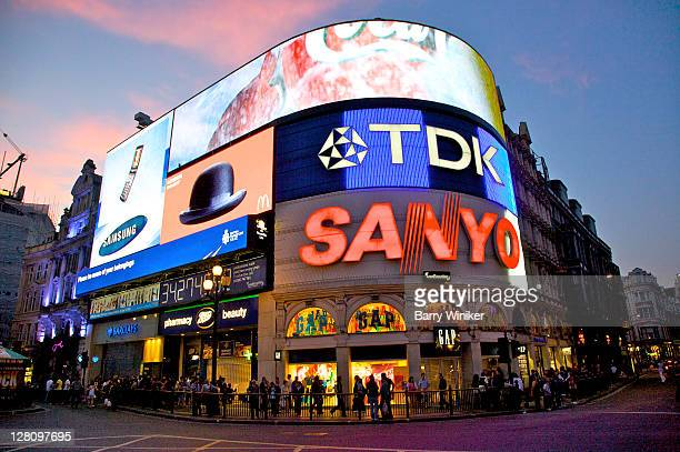 Illuminated signs on building at Piccadilly Circus, London, United Kingdom