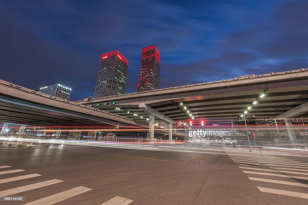 Illuminated Skyscrapers in Beijing at night