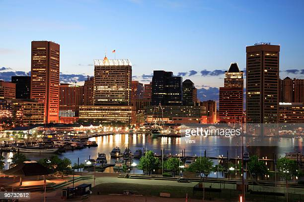 Illuminated skyscrapers of Inner Harbor, Baltimore, Maryland