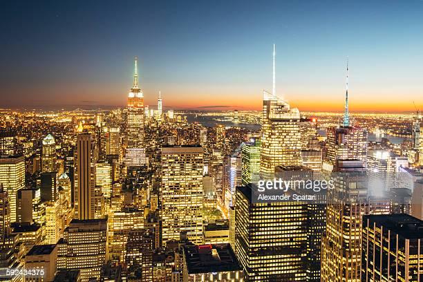Illuminated skyscrapers of Manhattan at night, NYC