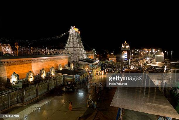Illuminated Sri Venkateswara temple at Tirumala Tirupati Andhra Pradesh India