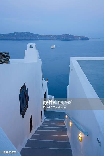 Illuminated steps, Fira, Santorini, Greece