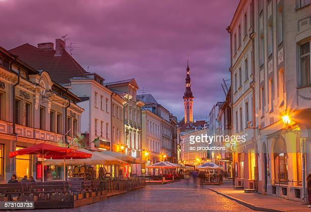 Illuminated street in cityscape, Tallin, Estonia