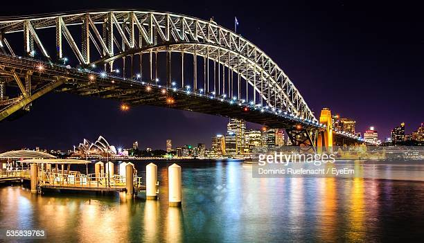 Illuminated Sydney Harbor Bridge At Night
