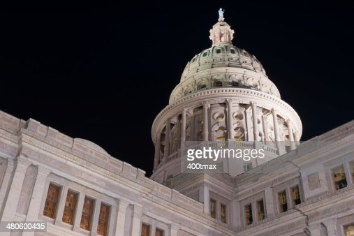 Illuminated Texas State Capitol : Stock Photo