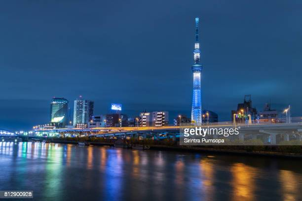 Illuminated Tokyo Sky Tree and Sumida River, Tokyo, Japan at Twilight,