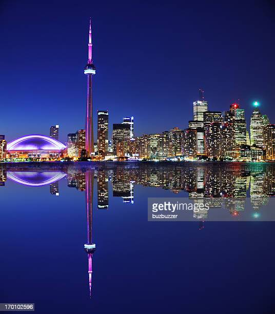 Illuminated Toronto City with Reflection at Night