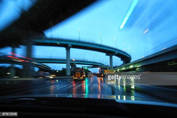Illuminated traffic on street